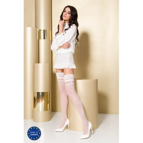 Stay-up stockings ST104 3/4 bianco - Passion